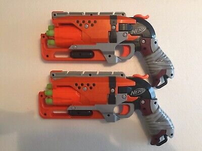 Lot Of 2 Nerf Zombie Strike Hammer Shot Blaster Gun With All 10 Bullets - 5 Each