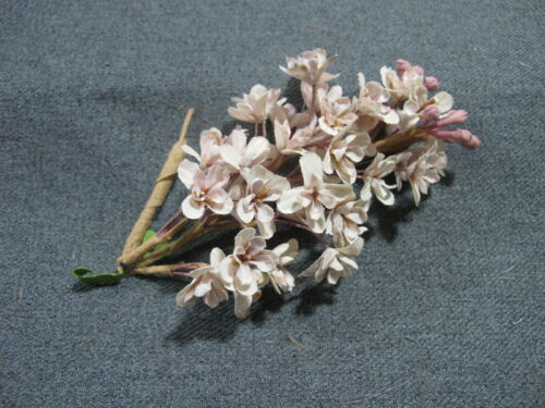 Vintage light lavender fabric flowers & leaves bouquet millinery applique #45