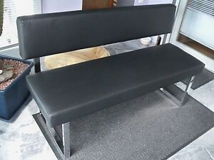 sitzbank mit lehne und kunstlederbezug schwarz chromgestell gutmann. Black Bedroom Furniture Sets. Home Design Ideas