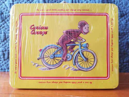 New Curious George Monkey Collectible Embossed Bike Keepsake Tin Mini Lunch Box