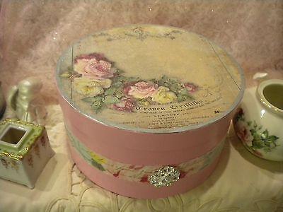 """Large Shabby Chic Paper Mache Decorative Box """"Vintage Paris / Old Rose"""""""