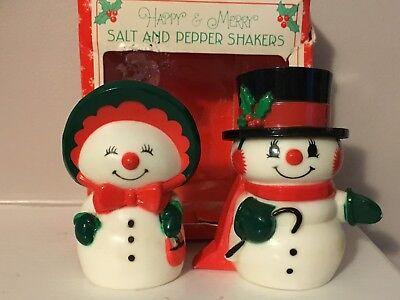 Vintage Snowman Christmas Salt Pepper Shaker Set Girl Boy Hallmark EXCELLENT