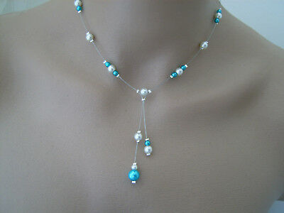 Cheap Blue Necklaces (Turquoise Blue Ivory Off White Necklace Wedding Dress Bridal Evenin)