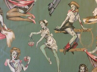 AH207 Zombie Pinup Girls 50's Retro Halloween Goth Punk Cotton Quilt Fabric](Halloween Pin Up Girl Fabric)
