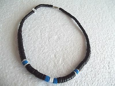 """18"""" Black Coconut Shell Necklace & White Clam Shell, Blue Beads Surfer Choker"""