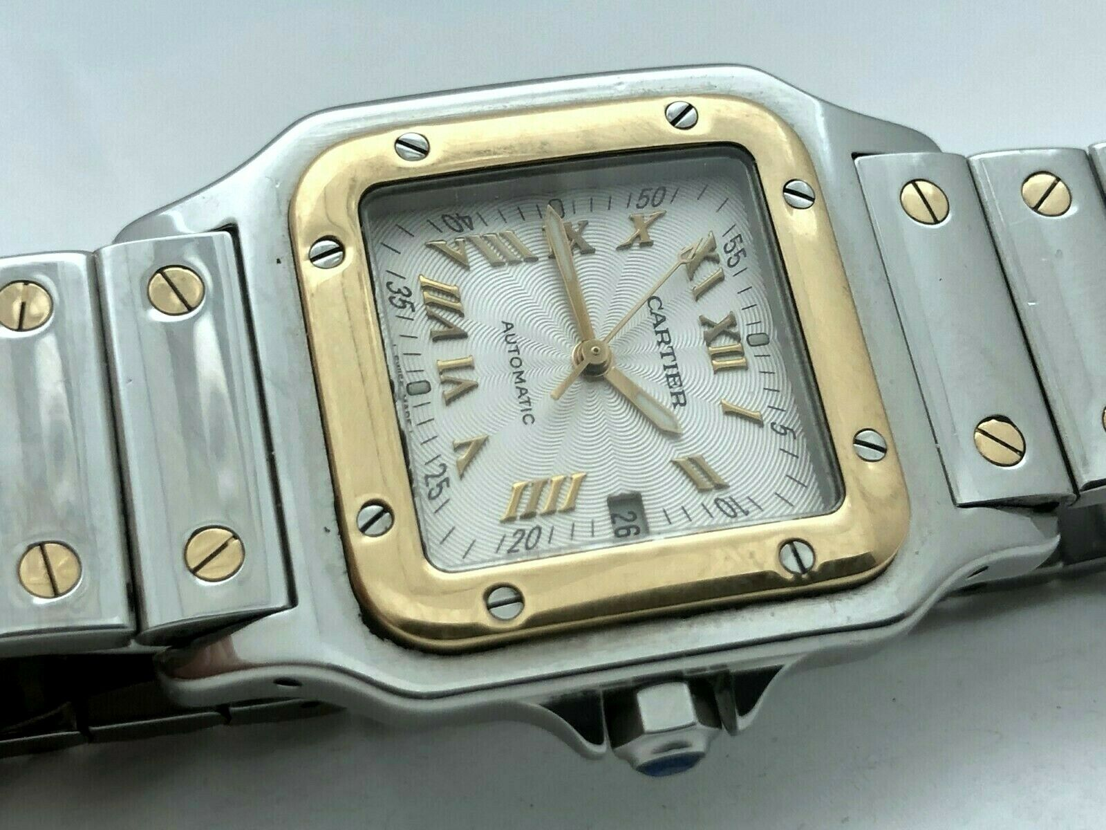 Cartier Santos Galbee 2319 Automatic Tank 2 Tone Steel 18K Solid Gold Box Papers - watch picture 1