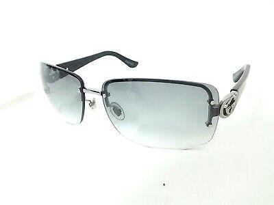 Auth GUCCI Double G GG2804/F/S Dark Gray Black Silver Plastic Sunglasses