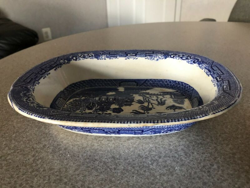Antique Blue Willow Buffalo Pottery 1909 Vegetable Dish