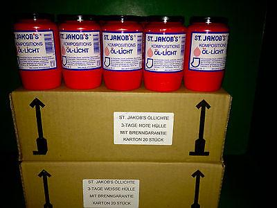 Jakobs Kompo Öl-Lichter, Grabkerzen Grablicht Nr.3 40 Stück  3-Tage
