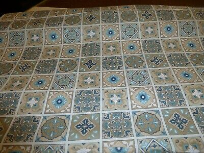 NEU Stoff 100 Baumwolle Patchwork Ornamente beige aquablau Orientalisch