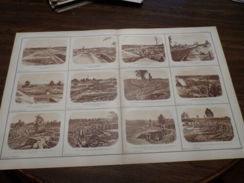 Antique Lithograph Print Civil War Photos Federal and Rebel Forts Atlanta 1894