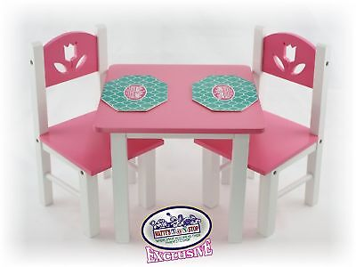 18 Inch Doll Furniture Pink/White Wooden Table and Chairs Set w/Placemats - Pink And White Table Settings