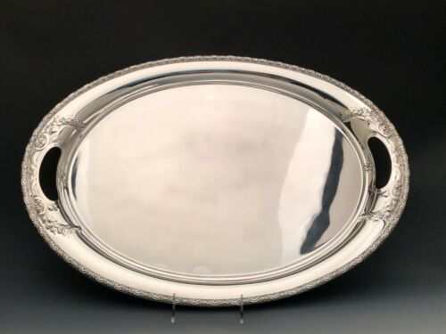 Prelude chased by International Sterling Silver, large Waiter with Handles 22.5""