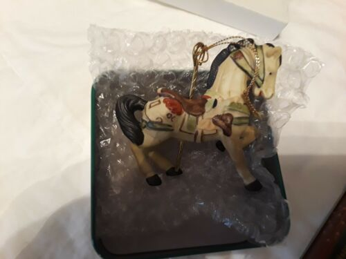 Willitts Porcelain Santa Carousel Horse Christmas Ornament & Tin box item 5359