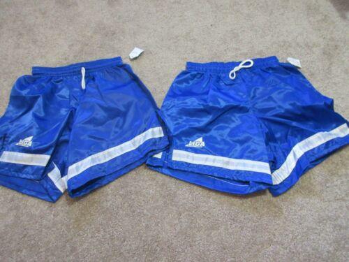 Lot (2) VINTAGE New 80s LIGA SOCCER Youth Medium YM Royal Blue Shorts 100% Nylon