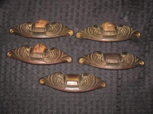 5 Vtg Art Deco brown Bakelite? Waterfall Dresser Drawer Pull Handles