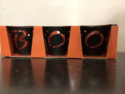 Halloween Candle Spells (Halloween Candle Holders, set of 3, spells out B O)
