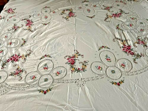 Vintage Cotton Tablecloth with Hand Embroidered Flowers & Crochet Inserts