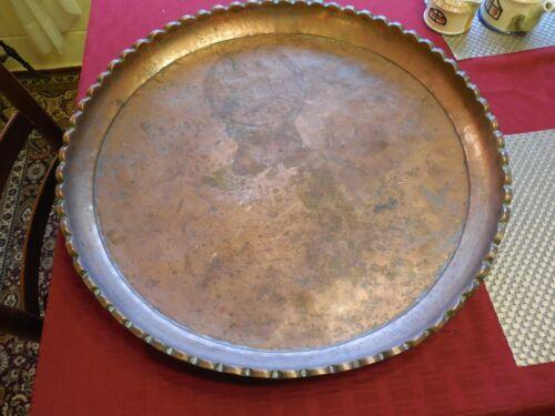 "Large Vintage Copper Tray w/ Scalloped Edge; 24"" diameter"