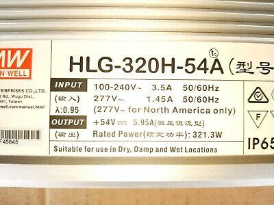 Mean Well Hlg-320h-54a Acdc Led Power Supply 54vdc - 320w 5.95a 120v 240v