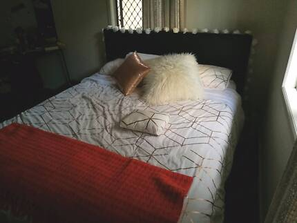 Leather queen bed with mattress (as new)