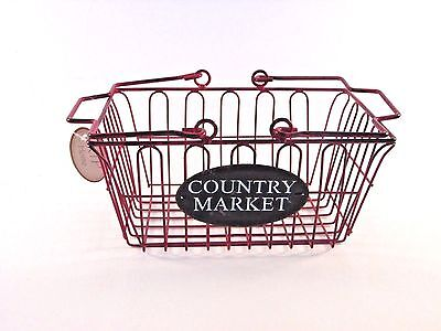 Red Country Market Metal Basket Container Kitchen Decoration Americana  - Hobby Lobby Wedding Supplies