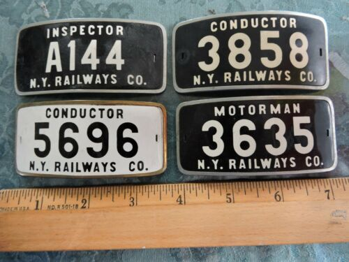 4 Rare 1910s New York Railways Badges Collection NYC City Subway Trolley