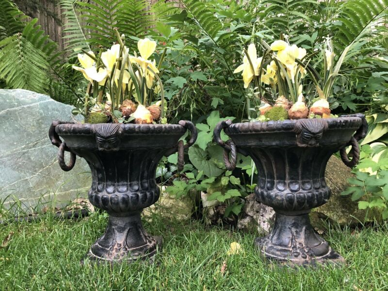 Pair Of Antique Vintage Cast Iron Planters Urns Handles Faces