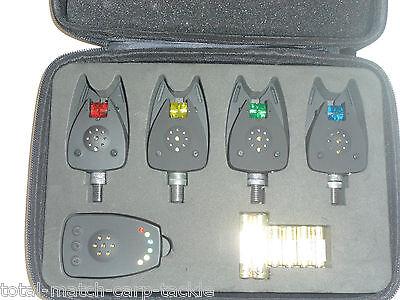 4 x illuminated Wheel wireless Bite Alarms & Receiver. Mini Size, Latching LED