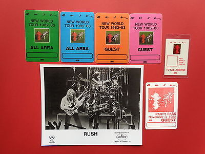 RUSH,promo photo,6 VERY RARE Backstage passes,New World Tour