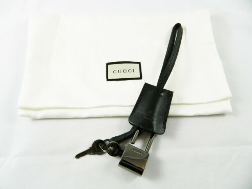 Authentic Gucci Lock with 2 Keys in Leather Holder NEW