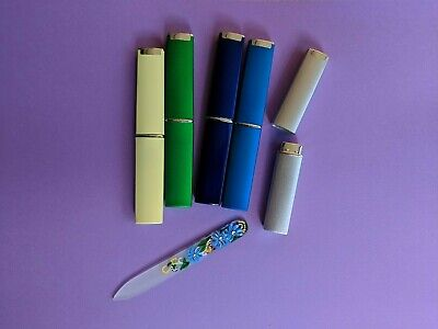 - 3.5 inch Hand Painted Blue Flowers Czech Crystal Nail Files with Hard File Case