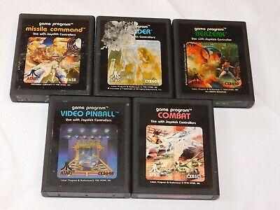 Lot of 5 Atari Game Cartridges Combat, Video Pinball, Berzerk, Defender and Miss