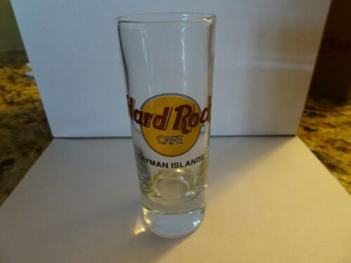 Hard Rock Cafe Cayman Island Shot Glass double black circle and Black Lettering