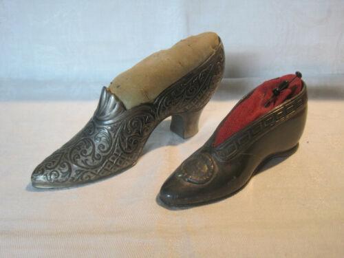 2 Antique Jennings Bros Victorian shoe pincushions, metal