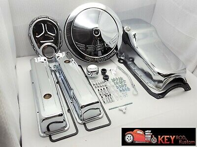 SB Chevy Chrome engine dress up kit TALL valve covers ROLLER timing oil air 350 ()