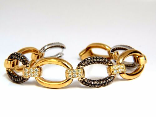 5.30ct Natural Fancy Yellow & Brown Diamond Link Bracelet 14kt+