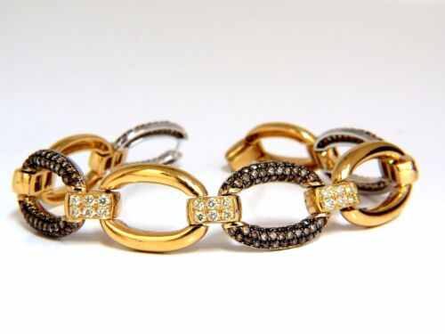 5.30ct Natural Fancy Yellow & Brown Diamond Link Bracelet 14kt