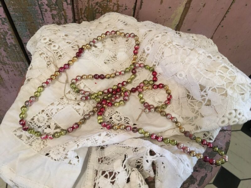 Antique Christmas Mercury Glass Beaded Garland Victorian #R8