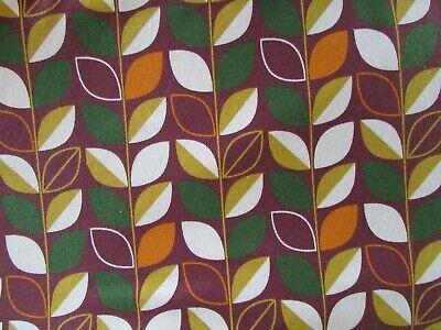Retro-Look 70er Jahre Baumwolljersey mit Blätter auf berry 50x150cm Neu