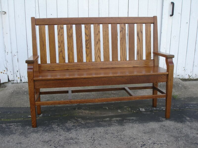 Antique Oak Bench Mission Style  Refinished 1900