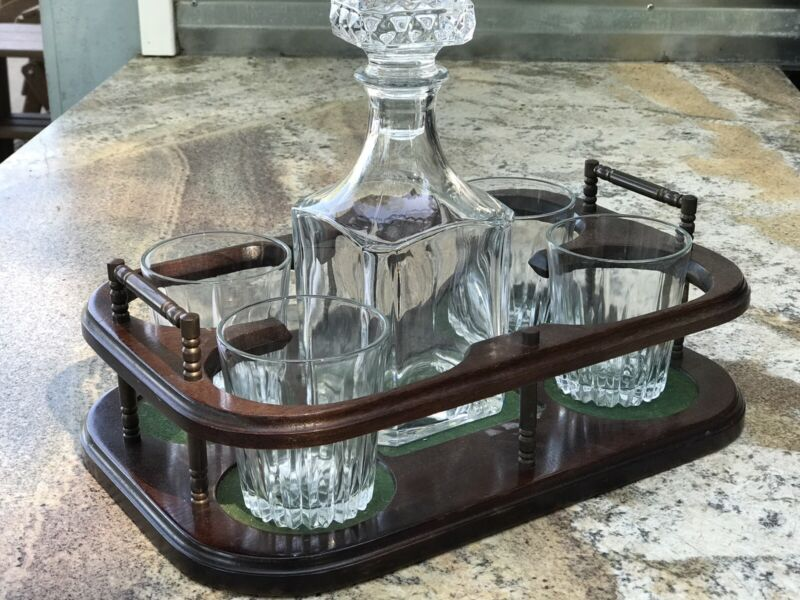 Vintage 5-Piece Whiskey Decanter Set