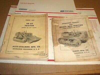 2 Oem Allis Chalmers Hd6g Tractor Parts List Catalog Manual Crawler Loader