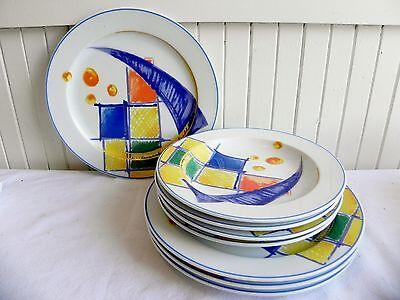 Vintage 8 Pieces of Bauscher Weiden Pop Art Geometric China Germany Plates Bowls