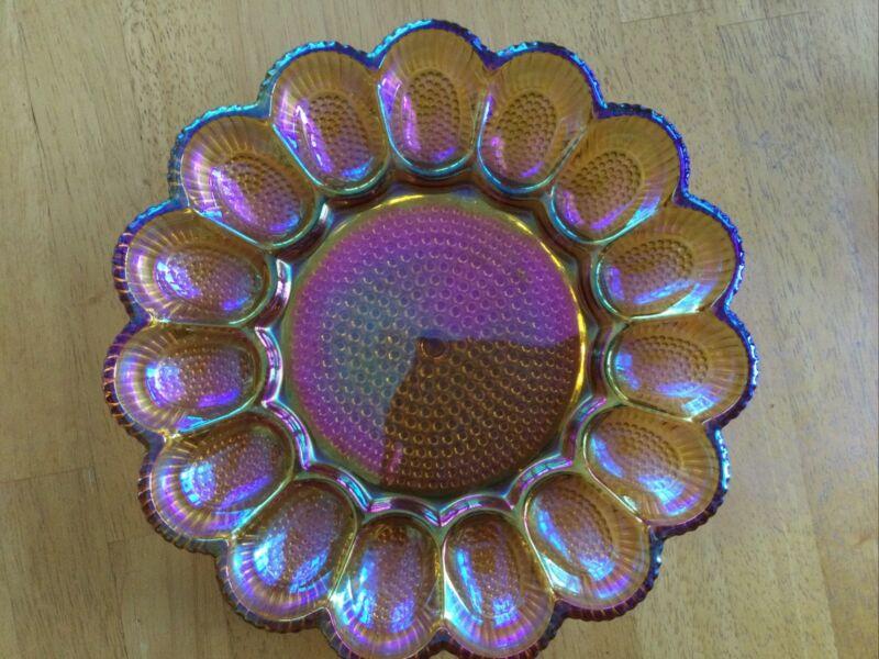 Vintage Indiana Carnival Amber iridescent Glass Hobnail Deviled Egg Tray 15 Eggs