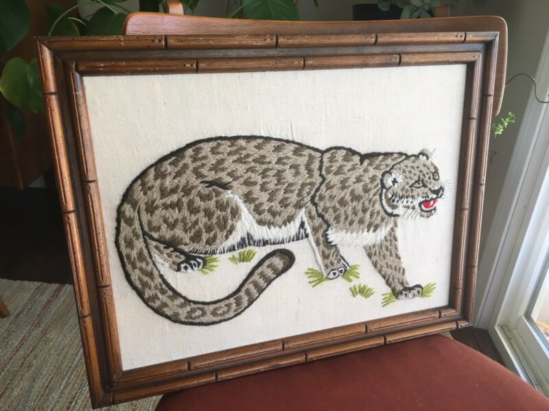 """Vintage Embroidery Picture Snow Leopard Asian Style Framed Jaguar 14x18"""""""