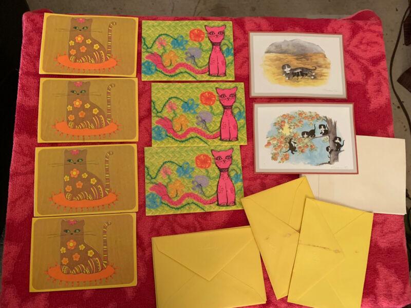 Vtg Hallmark 9 Blank Cat Notecards w Envelopes 1970s 80s no box