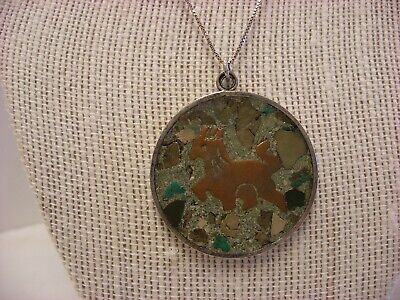 Vtg Mexico Necklace Sterling Silver Aztec Pendant Marked Taxco Sterling #266