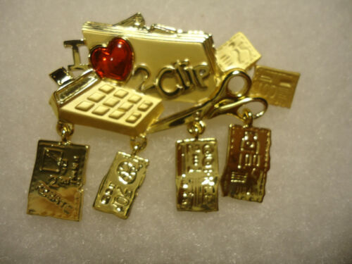 """danecraft vtg/nos gold tone red heart """"I Love 2 Clip"""" item charms pin"""