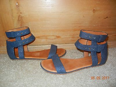 Gentle Souls Breaking News Sandals Sz 6 5  Blue Strappy Ankle Wrap